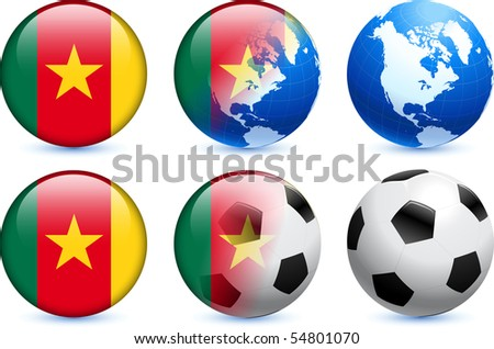 Cameroon Flag Button with Global Soccer Event Original Illustration
