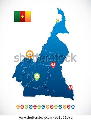 Cameroon Map with Navigation Icons - stock vector