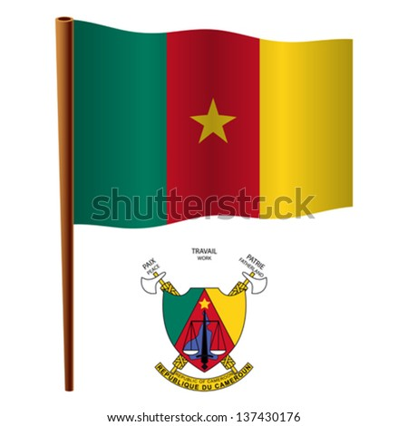 cameroon wavy flag and coat of arms against white background, vector art illustration, image contains transparency - stock vector