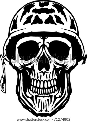 Camo Skull - stock vector