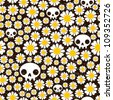 Camomile and skull seamless pattern. Vector texture. - stock vector