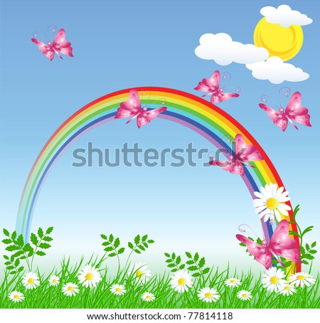 Camomiles with green grass and rainbow - stock vector