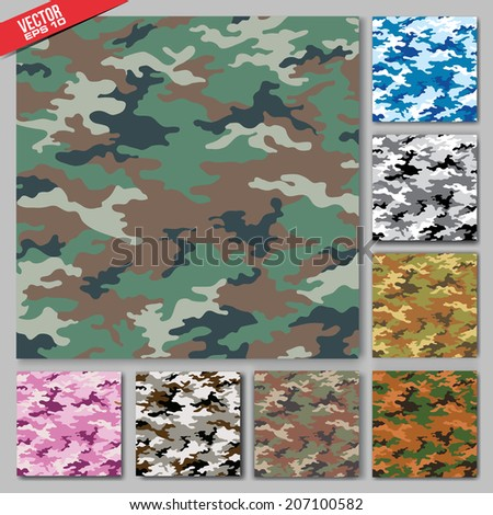 camouflage fabric pattern shape in vector format - stock vector