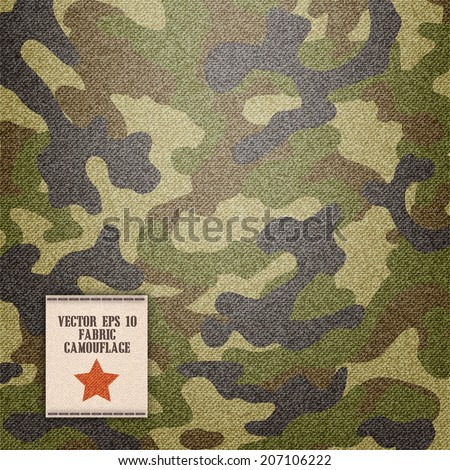 camouflage fabric texture realistic in vector format - stock vector