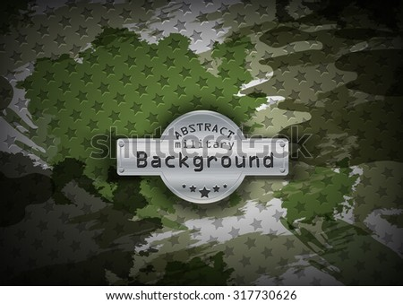 Camouflage military pattern with stars background. Vector illustration, EPS - stock vector