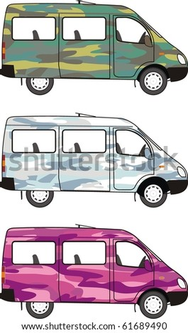 Camouflage mini-bus: Glamour Pink, Winter Snow, Classical Forest - stock vector