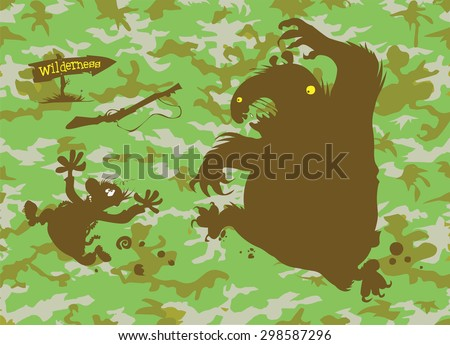 Camouflage pattern with a cartoon Bear chasing Hunter silhouettes.