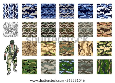 Camouflage set, vector fabric pattern.Can be used for background design, military textile. - stock vector