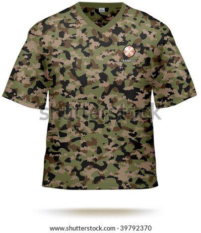 Camouflage T-shirt design template with sample print design. Vector, lot of details, contains gradient mesh. - stock vector