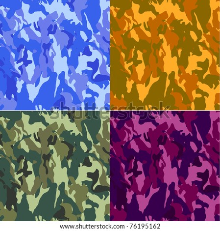 camouflage texture used on fatigues and clothes for hunting - stock vector