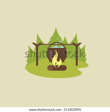 Camp fire illustration - stock vector