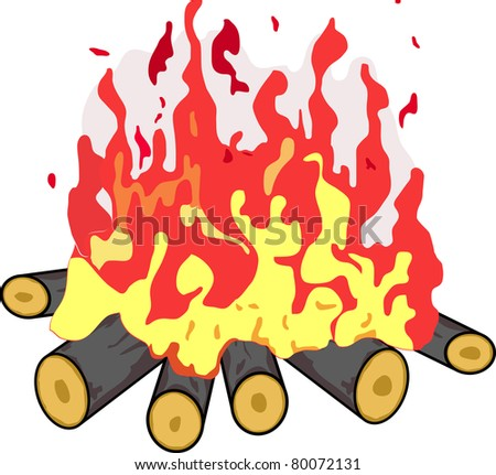Camp fire isolated in white. Vector illustration - stock vector