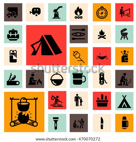 Camp Icons Set