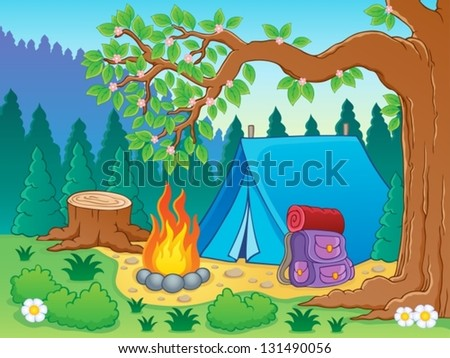 Camp theme image 2 - vector illustration. - stock vector