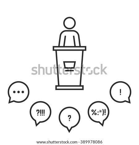campaign speech before an audience. concept of award, report, briefing stand, teacher, stage, president, lecture, motivation. linear style trend modern logo design vector illustration white background - stock vector