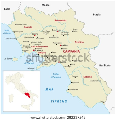 Campania Map Outline Map Italy Stock Vector 282237245 Shutterstock