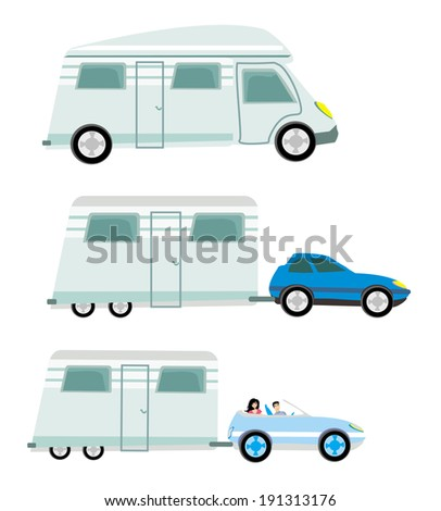 camper and trailer set,  isolated - stock vector