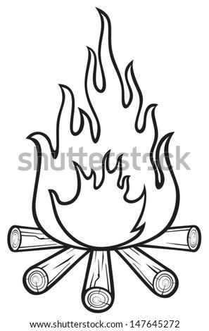 campfire - stock vector