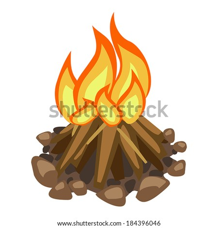 campfire isolated illustration on white background - stock vector