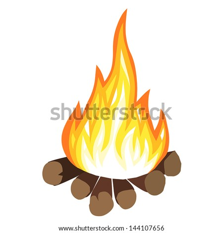 campfire isolated on white background - stock vector