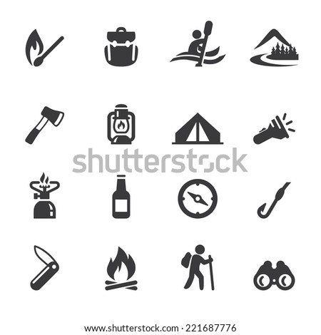 Camping Advanture Silhouette icons - stock vector