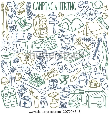 Camping and hiking hand drawn doodles collection. Travel accessories and equipment. Isolated over white background. - stock vector