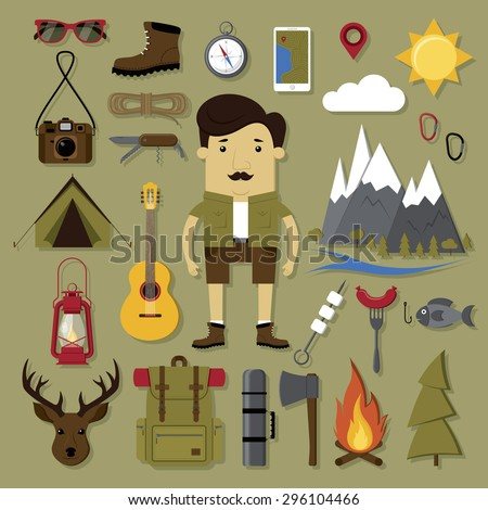 Camping and hiking set in modern flat style - stock vector