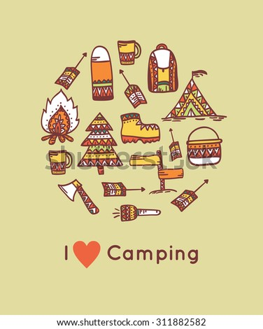 Camping and outdoor activity icon in tribal style. Circle composition - stock vector