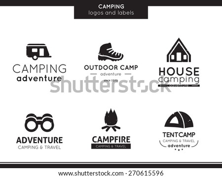 Camping and outdoor activity logo and labels collection - stock vector