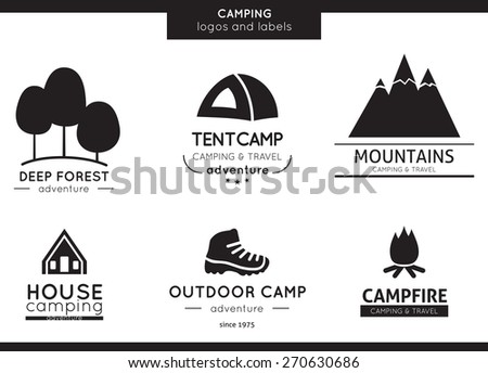 Camping and outdoor activity logos - stock vector