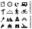 Camping and recreation icon set - stock vector