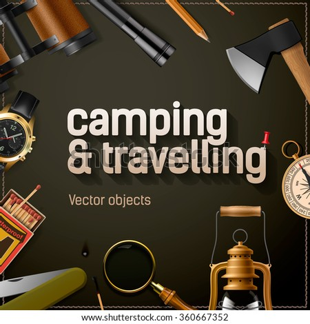 Camping and travelling template with equipment, vector illustration. - stock vector