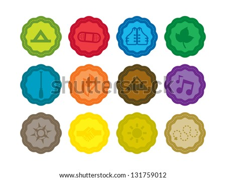 Camping Badges. - stock vector