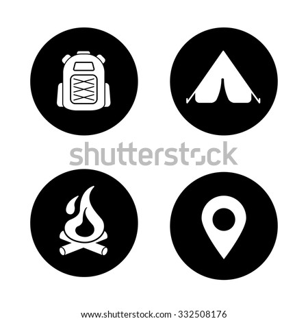Camping black icons set. Travel and mountaineering white silhouettes illustrations. Fireplace and hiking backpack circle symbols. Gps pin point and camp tent. Outdoor recreation items. Vector - stock vector