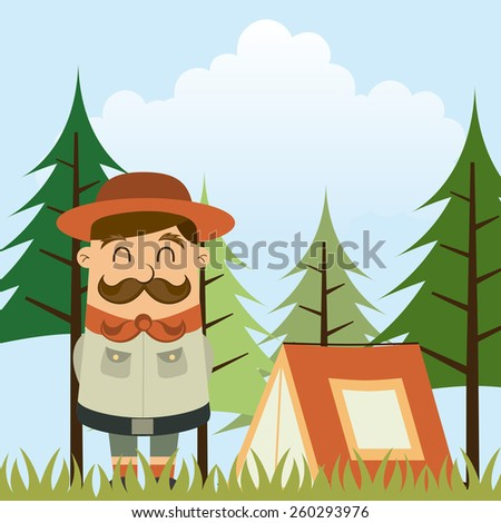 camping concept design, vector illustration eps10 graphic  - stock vector