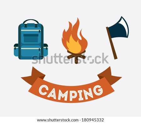 camping design over  gray background vector illustration - stock vector