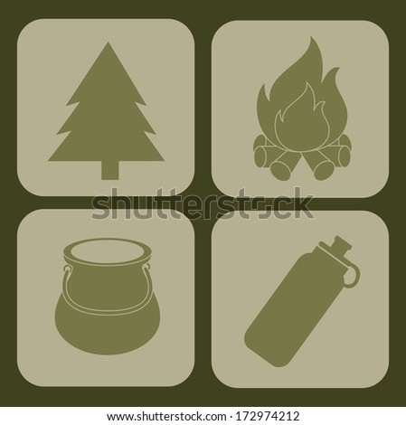 camping design over green background vector illustration   - stock vector