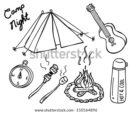 camping doodle - stock vector