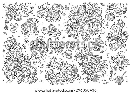 Camping doodles nature hand drawn sketchy vector symbols and objects - stock vector