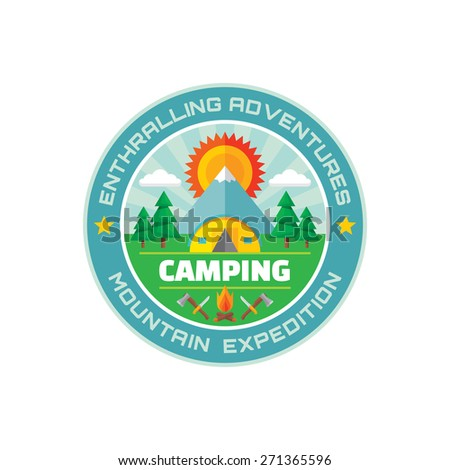 Camping - enthralling adventures - mountain expedition - vector badge illustration in flat style. Camping summer vector logo. Vector logo template. Design element. - stock vector