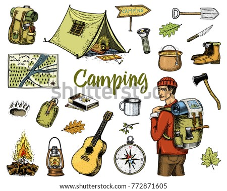 Camping Equipment Set Outdoor Adventure Hiking Traveling Man With Luggage Tourism Trip