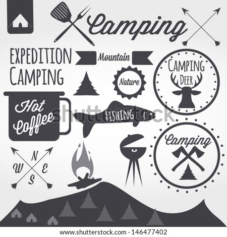 camping equipment symbols and icons  - stock vector
