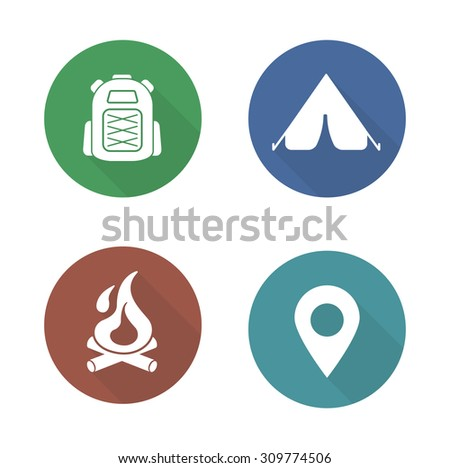 Camping flat design icons set. Boy-scout travel backpack symbol. Outdoor tourism tent symbol. Camp fireplace long shadow silhouette illustration. Gps location pictogram. Vector infographics elements - stock vector