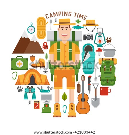 Camping gear set. Backpacking element set. Hiking outdoor equipment in flat style. Hike and camp icon concept collection and vector travel hiker character isolated on white background. Backpacker man - stock vector
