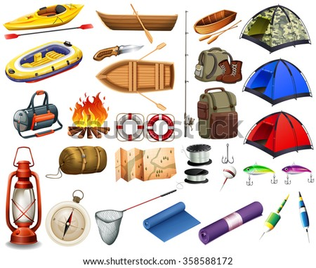Camping gears and boats illustration - stock vector