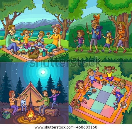 Camping Happy Family Vacation Hike Picnic Stock Vector ...