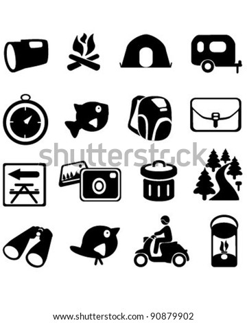 Camping Hiking Icons - stock vector