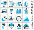camping icons set, blue and black color theme icons  - stock vector