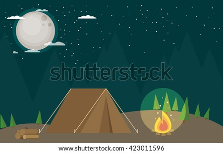 Camping in Forest at Night. Flat design Style. - stock vector