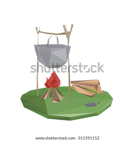 Camping in forest with campfire. vector illustration. - stock vector